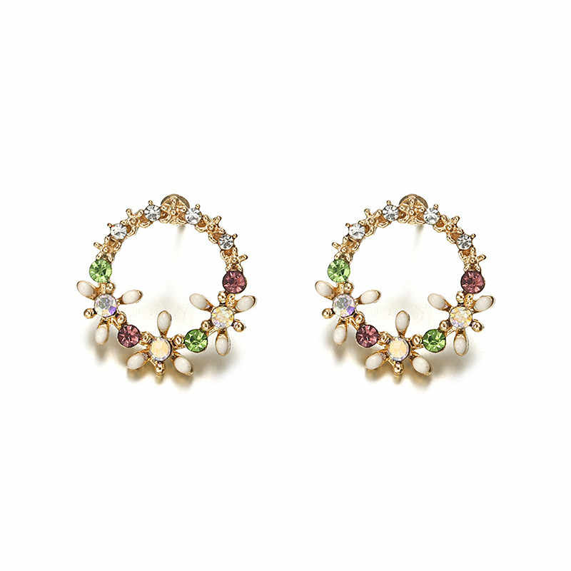 New Tiny Cute Shiny Multicolor Rhinestone Flower Stud Earrings for Women Sweet Fashion Wreath Ear Jewelry Gift Brincos ez6