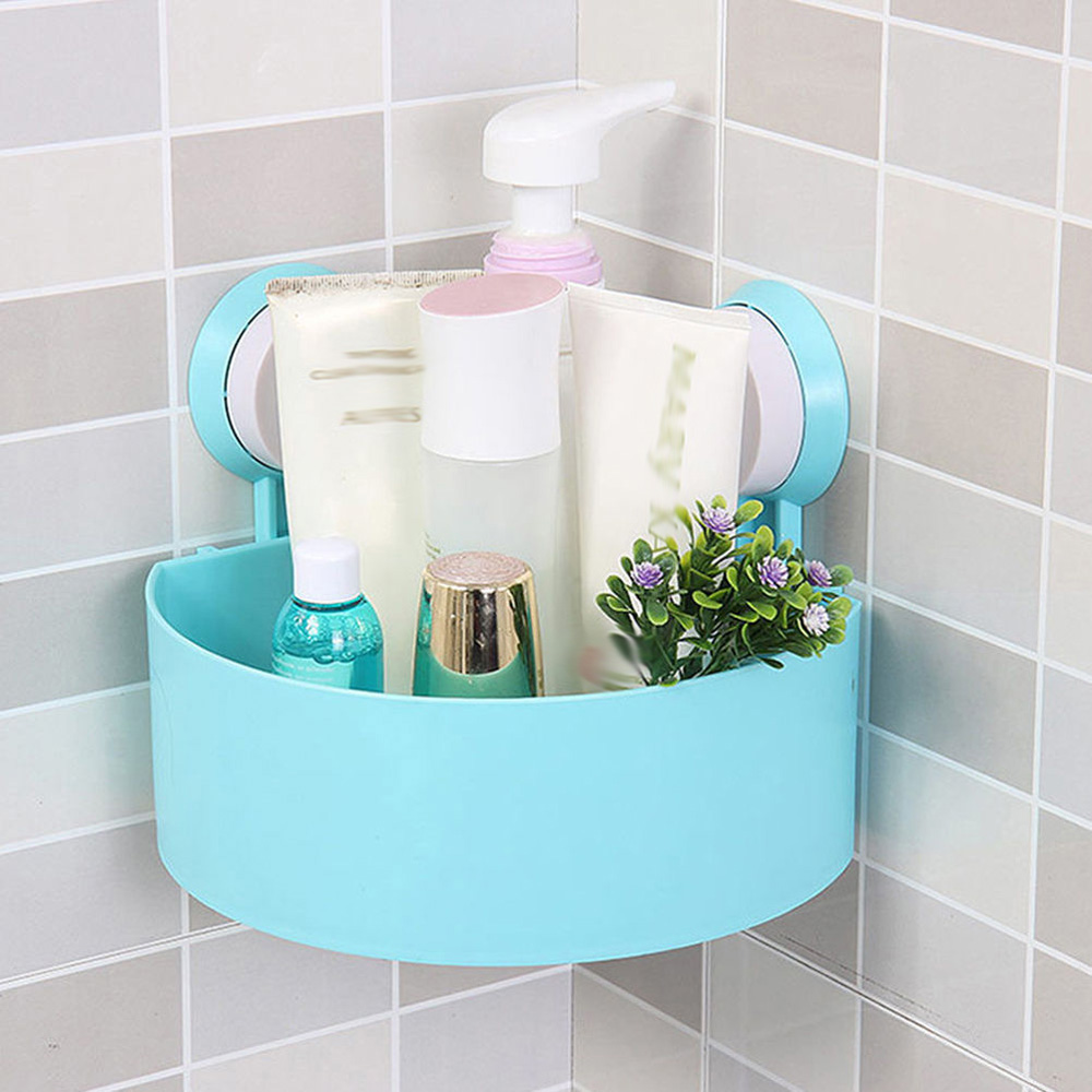 Kitchen Bathroom Shelf Wall Rack Suckers Plastic Shower Caddy ...