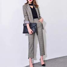 Women's 2018 Elegant pants suits work wear formal slim Plaid long-sleeve blazer and trousers office ladies blazer set J17CT2004