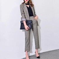 Women S 2017 Elegant Pants Suits Work Wear Formal Slim Plaid Long Sleeve Blazer And