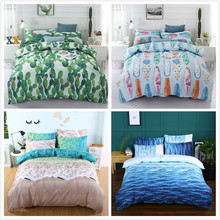 2019 Hot Sale Watercolor Flower Home Textile Bedding Set Green Blue Bed Polyester 3pcs Comforter Sets