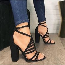 Женские сандалии-гладиаторы на высоком каблуке; Узкие Брендовые женские сандалии с вырезами; летние модные сандалии с пряжкой на ремешке