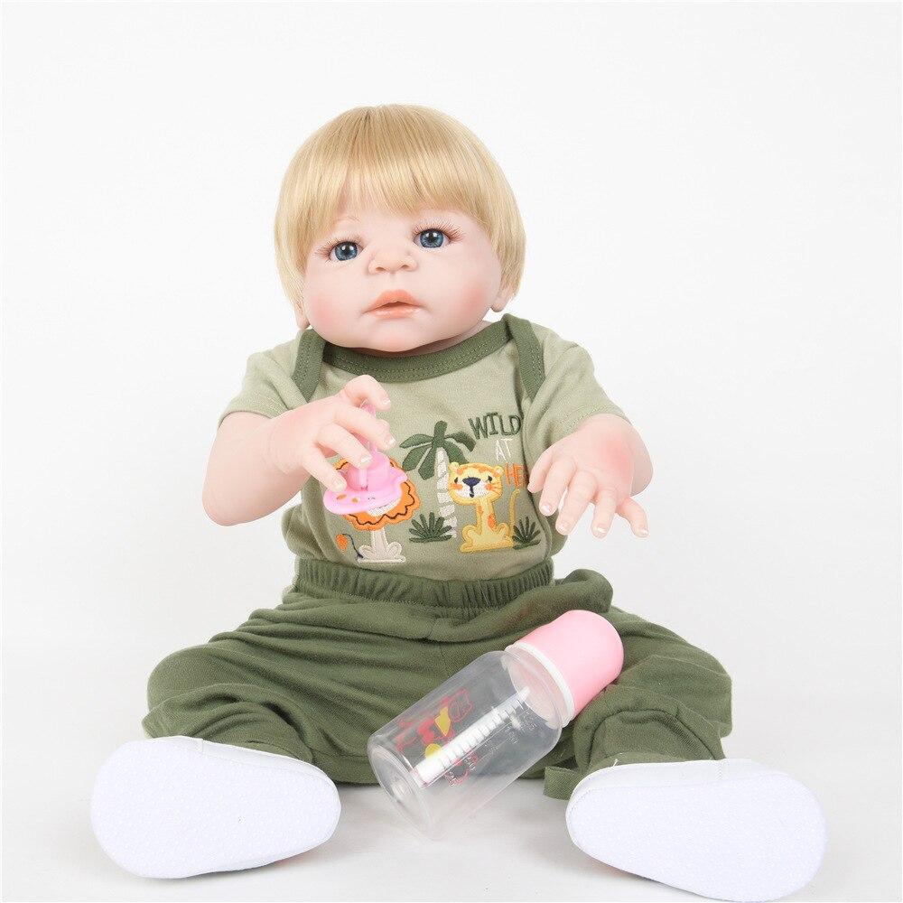 все цены на 55cm Soft Full Silicone Reborn Baby Realistic Newborn Boy Doll for Kids Girl Toy Xmas Birthday New Year Gift
