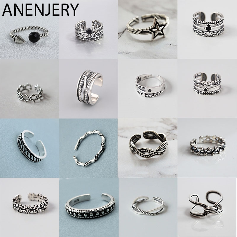 ANENJERY Vintage Handmade 925 Sterling Silver Rings For Men Women Size 18mm Adjustable Thai Silver Rings Personality S-R445(China)