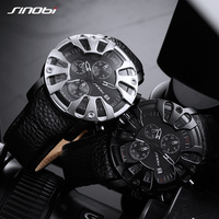 SINOBI Watch for Men Sports Quartz S Shock Watches With Soft Leather Straps Eagle Claw Top Brand Luxury relogio masculino 2018