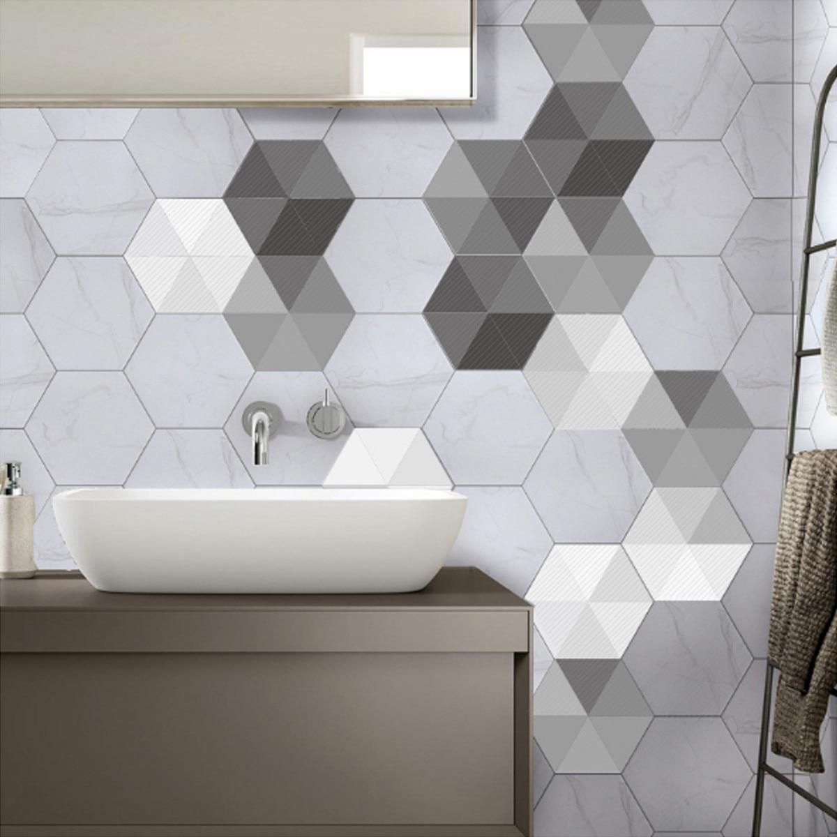 10Pieces/Set Three Dimensional Hexagon Tile Floor Sticker Bathroom ...