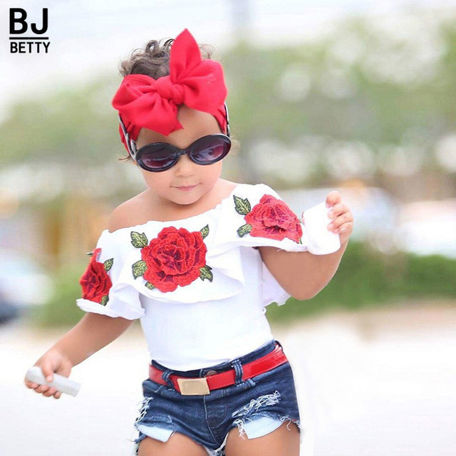 2018 kids fashion girls clothing sets sleeveless children rose print  shirt+shorts jeans kids girls clothes setsBB410 86fbd898a