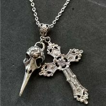 Cross & Skull Birds Head Pendant Necklace for women Vintage Silver Charms Wicca Pagan Goth Jewelry Christmas Gift Collier Choker