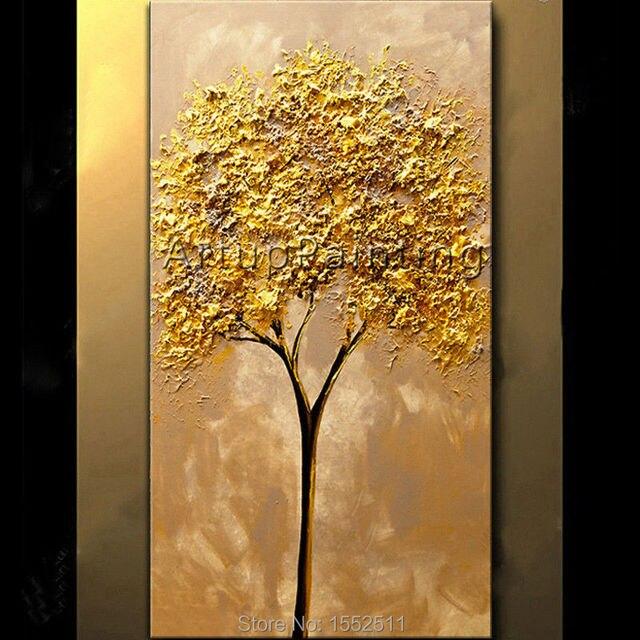pintado a mano moderno esptula textura d flores y rboles el leo de la lona pintura
