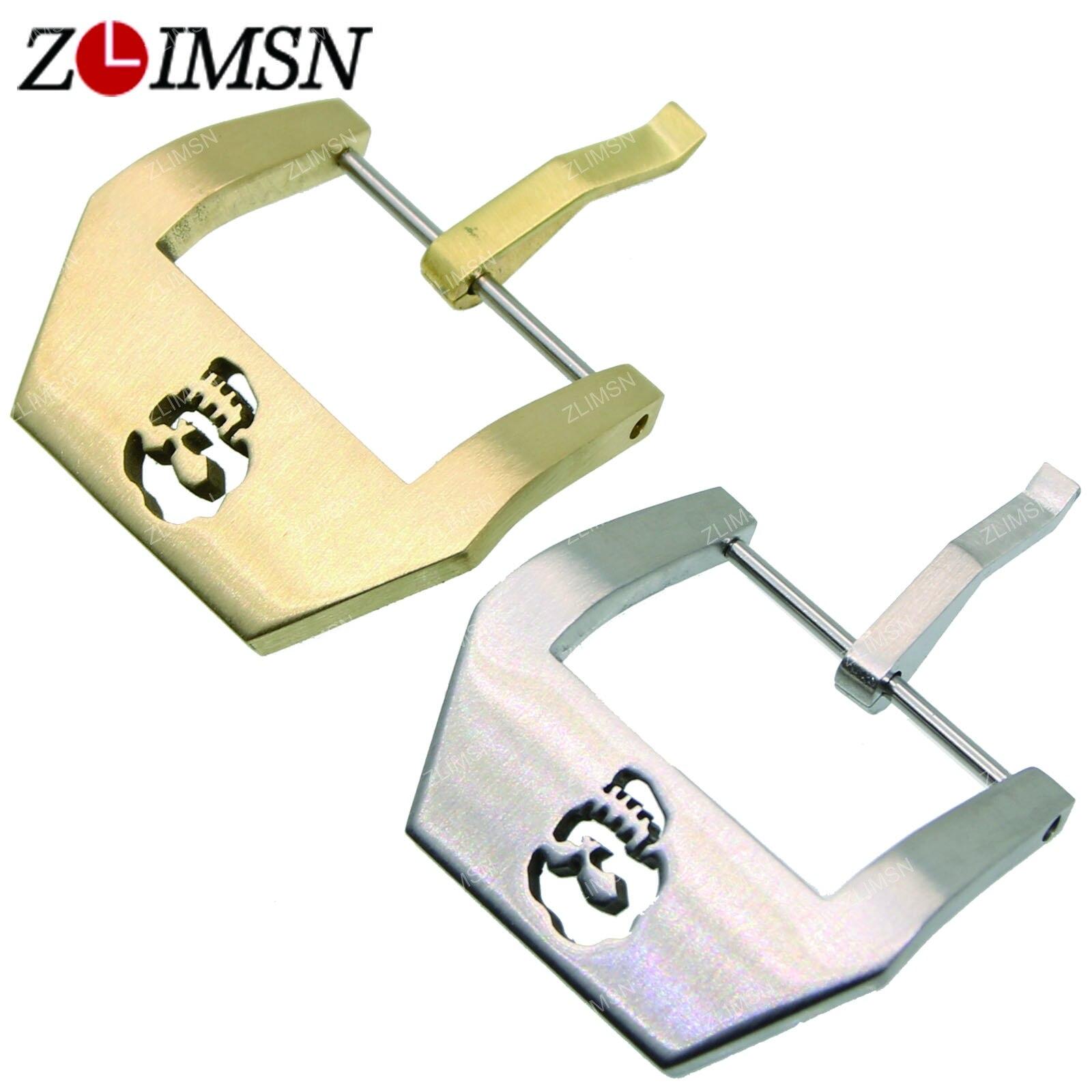 Prix pour ZLIMSN Bracelets Argent Noir Cuivre Boucle En Acier Inoxydable Bande de Montre De Fermoir de Remplacement De Réparation Outil 20mm 22mm 24mm K55