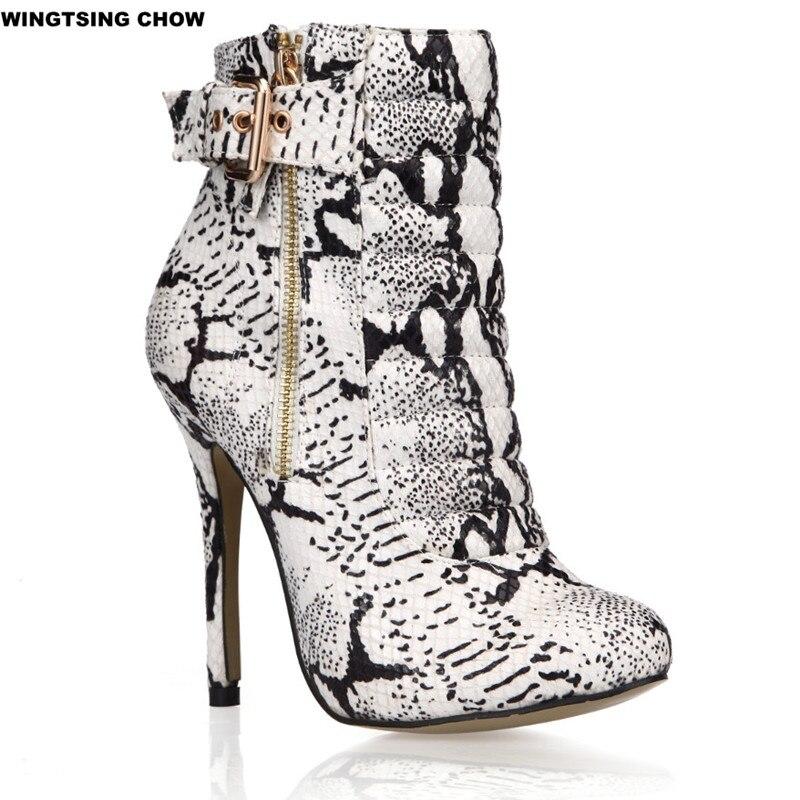 Mode serpent Style femmes bottines décontracté en cuir bottes automne haut talon femmes pompes grande taille 35 43-in Bottines from Chaussures    2