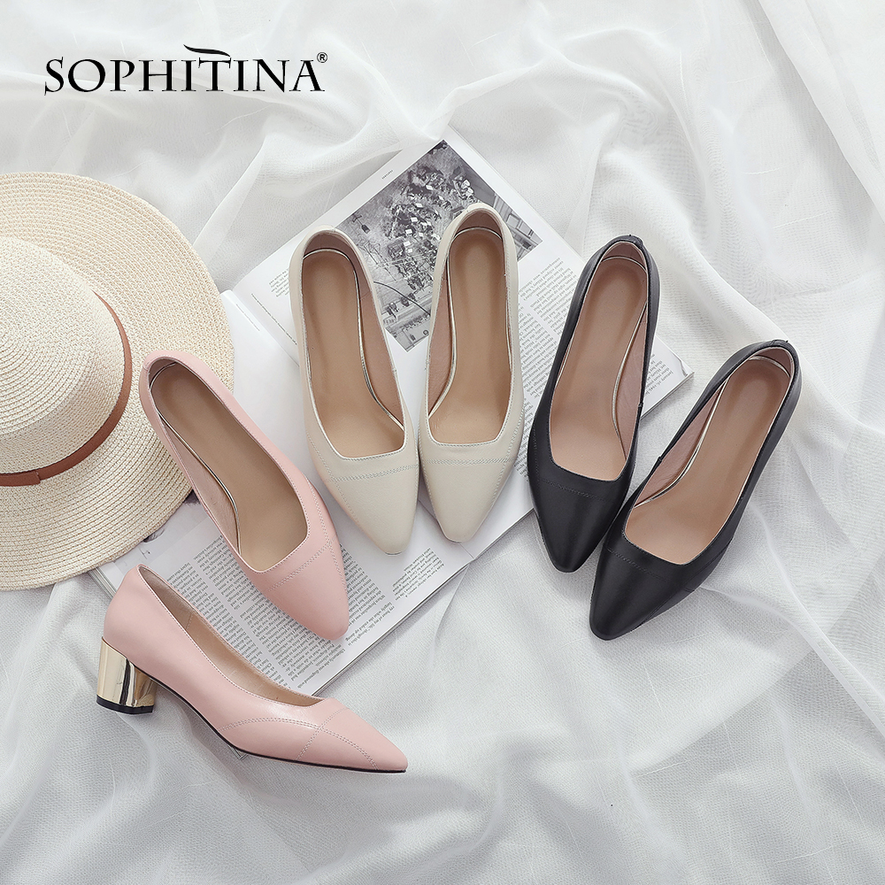 SOPHITINA Fashion Shallow Pumps Genuine Leather Career Slip on Spring Shoes Handmade Round Heel Concise New