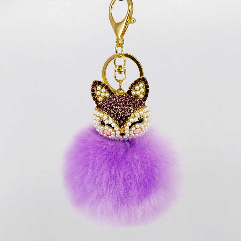 8 צבע הטוב ביותר מגניב פאף כדור מחזיקי מפתחות חמוד שועל מפתח שרשרות ילדים נשים אישית טבעות מחזיקי מפתחות רכב תיק מפתח שרשרות