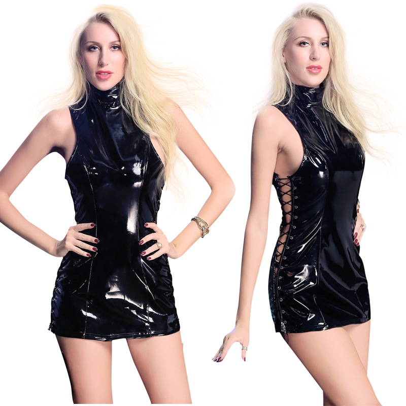 Women's Costumes Costumes & Accessories Sexy Women Black Faux Leather Bondage Dress Hollow Out Clubwear Dresses Bodycon Sexy Costumes Game Uniform