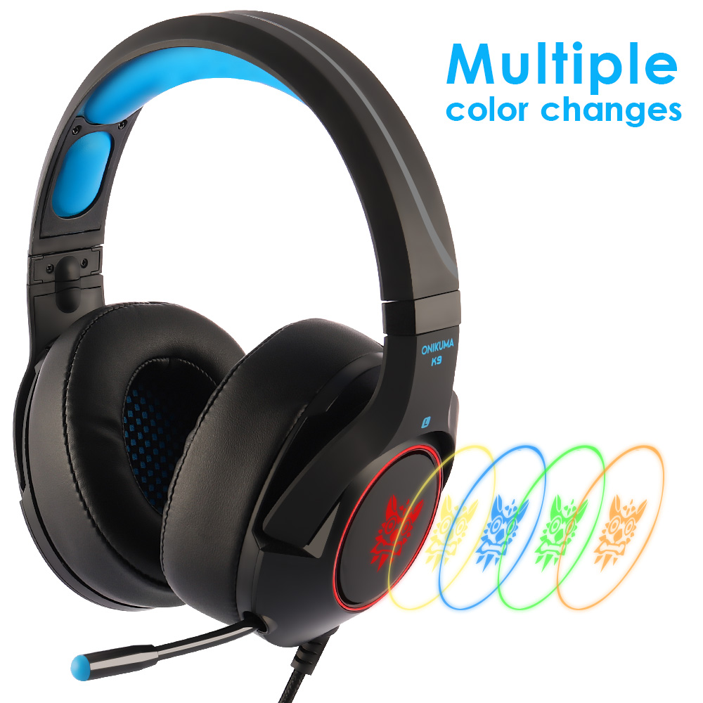 ONIKUMA K9 Gaming Headset Casque PC Stereo Gaming Kopfhörer mit Mikrofon LED Licht Für Laptop/PS4/<font><b>Xbox</b></font> <font><b>One</b></font> controller Gamer image