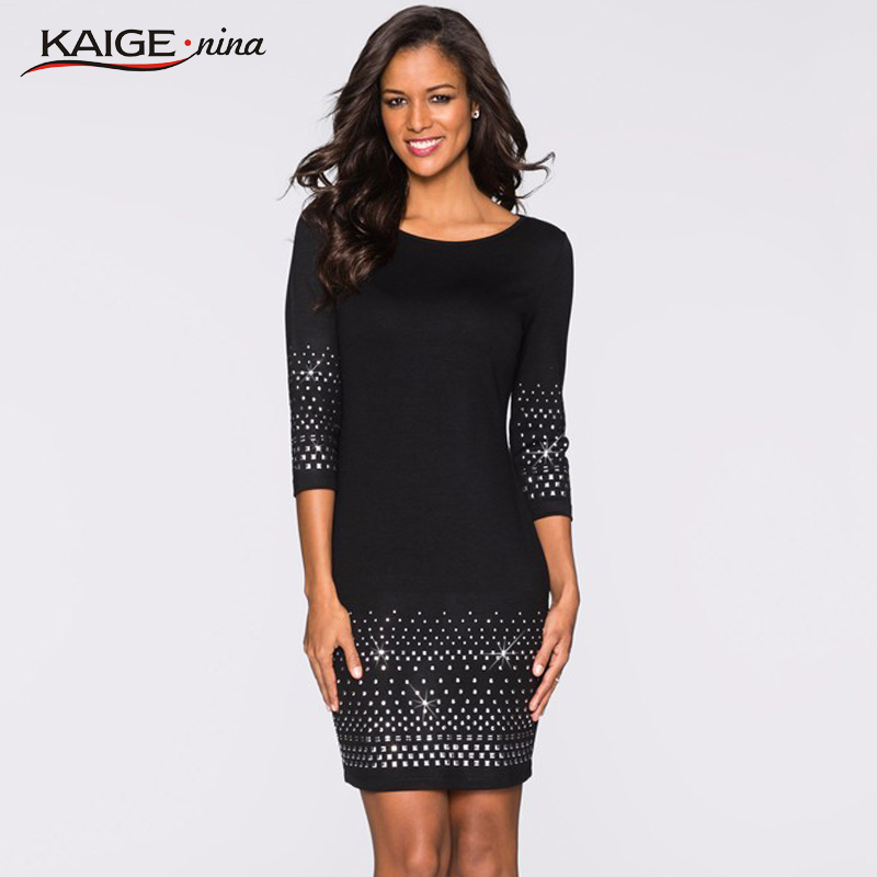 Kaige.Nina New Women's Vestidos Pure Color Style 7 Minutes Of Sleeve Sequined  Decoration Straight Knee-Length Autumn Dress 1621