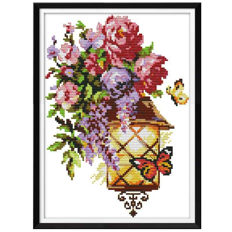 Flower Butterfly Light DIY Handmade Needlework Counted 14CT Printed Cross Stitch Embroidery Kit Set Home Decoration