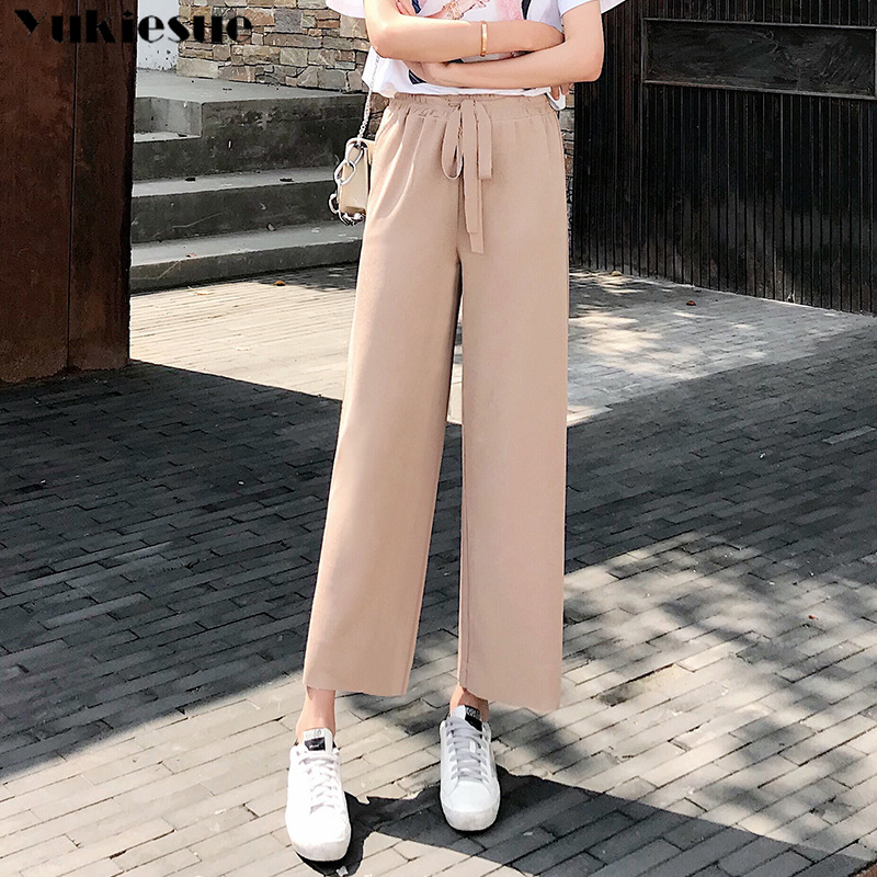 streetwear summer 2019 women's emale high waist elastic   wide     leg     pants   capris for women trousers woman Plus size khaki black