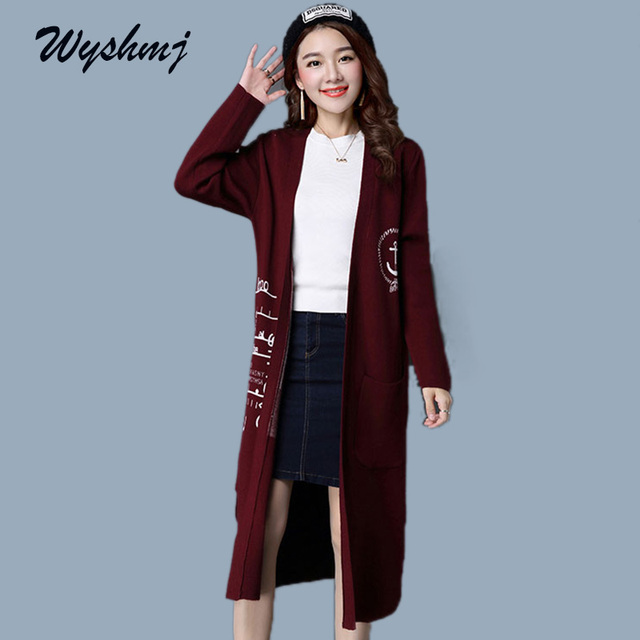 WYSHMJ 2017 New Winter Long Sweater Coat for Women Printed Formal ...