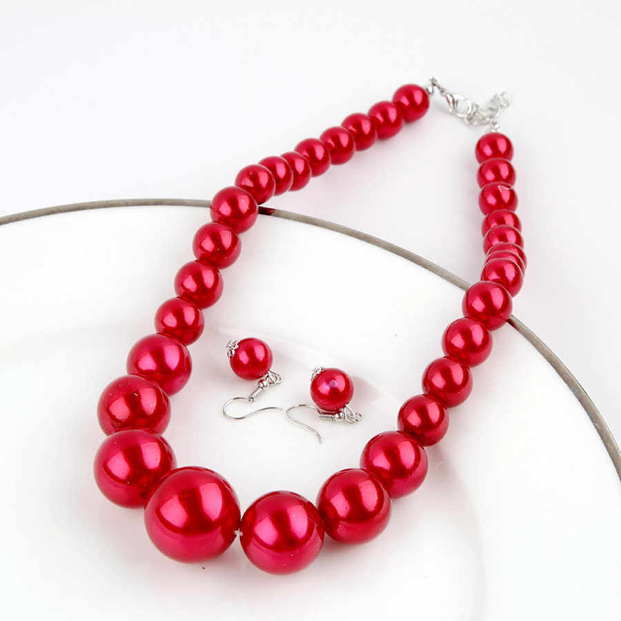 Hot Sale Big Size Nigerian Beads Jewelry Set Red/White/Blue/Pink Simulated-pearl Necklace Earring Set Turkish Jewelry Free Gifts