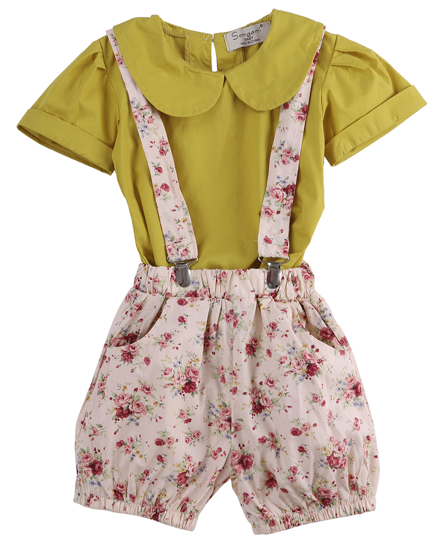 2pcs!!Infant Baby Girls Kids Cute Toddler Blouse Straps Short Sleeve Bottoms Outfit Clothing Summer Clothing