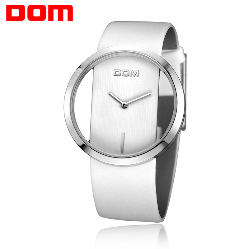 DOM Watch Women Brand Luxury Fashion Casual Quartz Unique Stylish Hollow Skeleton Watches Leather Sport Lady watches Dresses