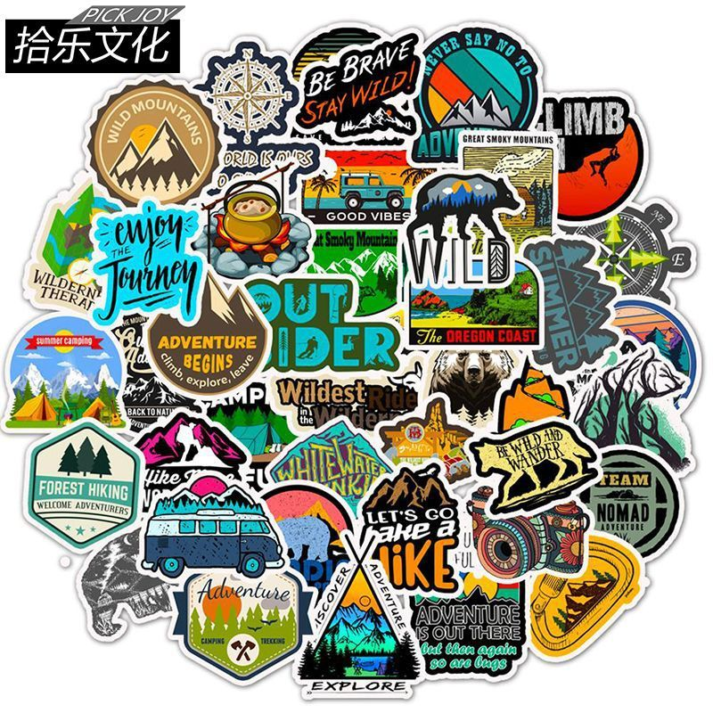 50 Camping Travel Stickers Wilderness Adventure Outdoor Landscape Waterproof Decal Sticker To DIY Suitcase Laptop Motor Car