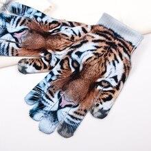 1Pair Screen Gloves Autumn Winter Unisex Mittens Cat Tiger Print Warm Knit Women Men Warm Gloves Crochet Touch Female Thicken