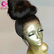 Eva düz dantel ön İnsan saç peruk ön koparıp bebek saç ile tutkalsız dantelli ön peruklar siyah kadınlar için brezilyalı Remy saç