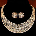 Gold/Silver Hollow Jewelry sets Collar Openwork Statement Necklace Earring Set Brinco bijoux African Beads Jewelry Set for Women