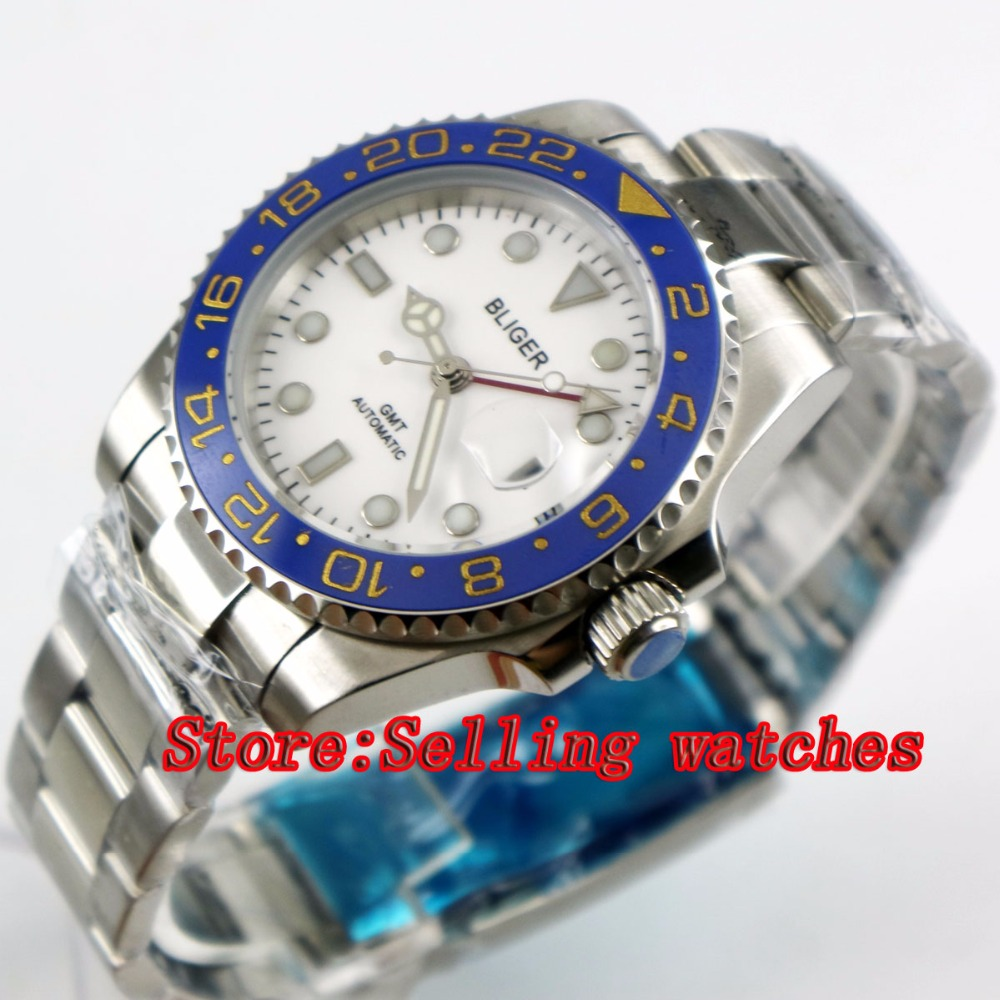 40mm Bliger White Dial ceramic bezel red GMT Luminous Hands Sapphire Glass Automatic Movement Men's Mechanical watches 40mm bliger white dial white ceramic bezel gmt luminous hands sapphire glass automatic movement men s mechanical watches