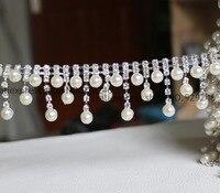 Frete grátis 1 quintal/lot moda pérola nupcial tassel dangle cristal guarnições corrente de metal para o vestido de casamento headwear decoração