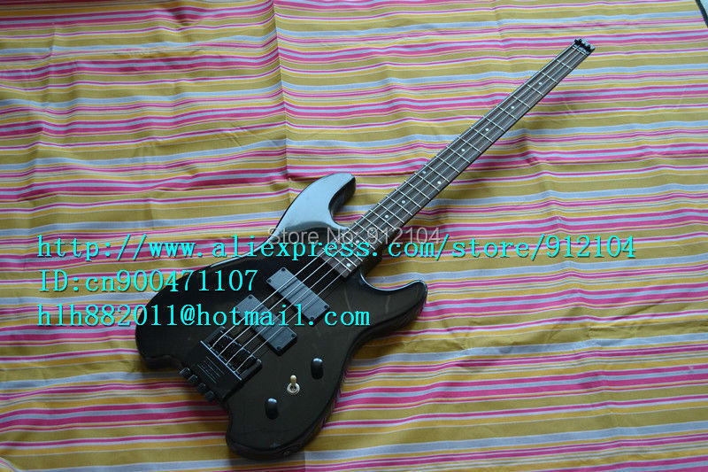 free shipping new headless electric bass guitar in black made in China+ foam box F-1203 finish bass guitars electric chinese 5 string bass butterfly bass guitar free shipping made in china