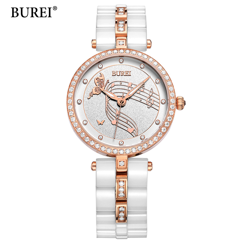 Ceramic Watch Fashion Casual Women Quartz Watches Relojes Mujer BUREI Top Brand Luxury Wristwatches Girl Elegant Dress clock burei brand men women dress quartz watch new hand couples table clock real leather fashion casual wristwatches hot sale gift