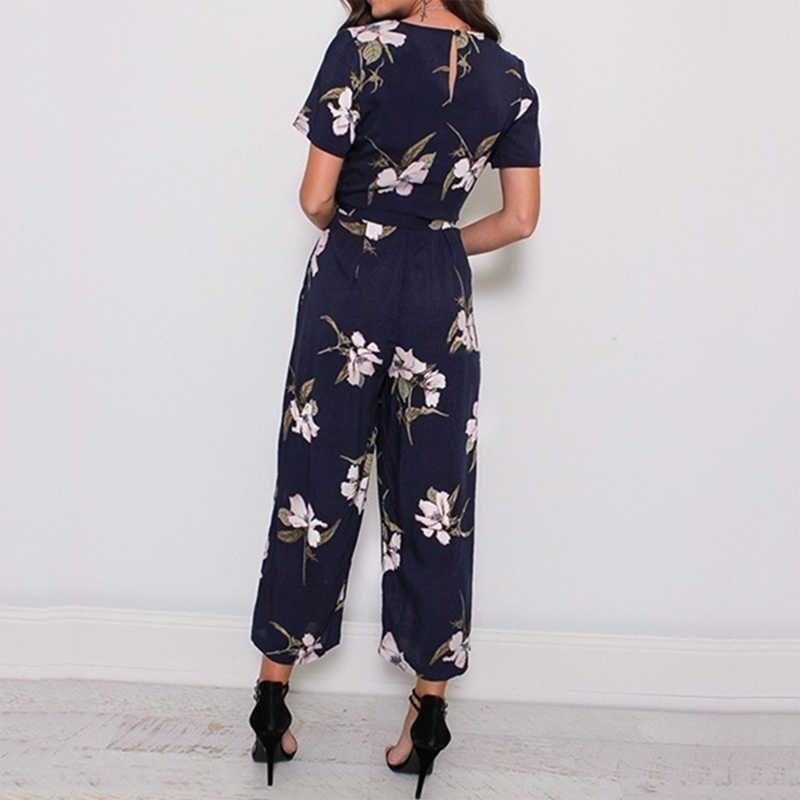 2019 mujer nueva moda verano manga corta cuello en V estampado Floral elegante mono pantalón largo más talla grande S/M /L/XL/XXL/3XL/4XL/5XL