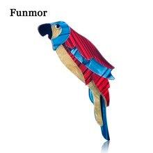 Funmor mezcla de Color acrílico loro pájaros broches tamaño grande mujer niño Animal Badge broche suéter regalos accesorios Lapel Pins Joyeria