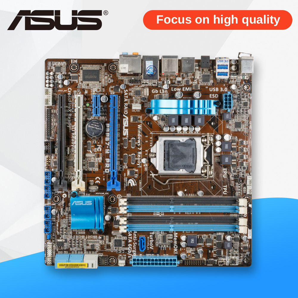Asus P8P67-M PRO Desktop Motherboard P67 Socket LGA 1155 i3 i5 i7 DDR3 32G SATA3 USB3.0 uATX asus p8b75 m lx plus desktop motherboard b75 socket lga 1155 i3 i5 i7 ddr3 16g sata3 usb3 0 micro atx