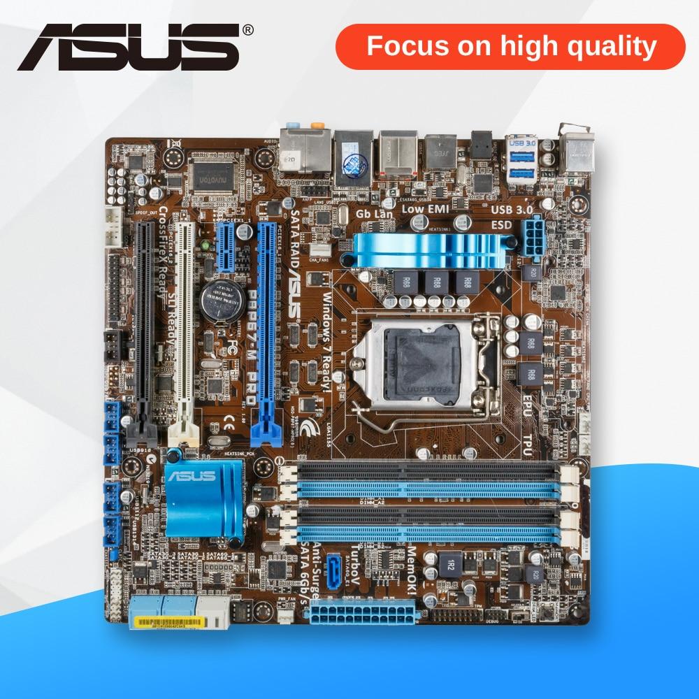 Asus P8P67-M PRO Desktop Motherboard P67 Socket LGA 1155 i3 i5 i7 DDR3 32G SATA3 USB3.0 uATX msi original zh77a g43 motherboard ddr3 lga 1155 for i3 i5 i7 cpu 32gb usb3 0 sata3 h77 motherboard