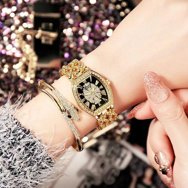 Relojes Mujer 2018 Ladies Diamond Bracelet Watches Set 2 pcs Women Luxury Fashio
