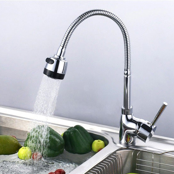 Copper Plumbing Hose Kitchen Faucets Sink Set 360° Rotatable Cold Mixer Tap
