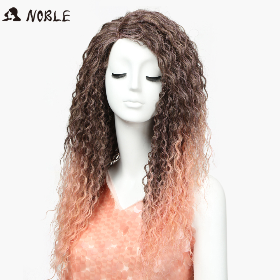 Noble Hair Synthetic Kinky Curly Long Wigs 26 Inch Ombre Lace Wig Pink Colors Resistant Hair Free Shipping ...