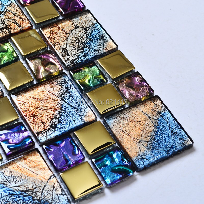 Iridescent seven color symphony gold electroplate crystal glass mosaic tiles for kitchen backsplash decoration bathroom