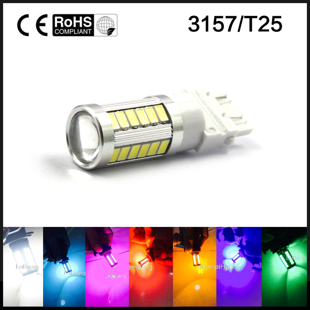 3157 led High Power 33 SMD 5730 LED Amber Yellow Turn Signal White P27W T25 bulbs Red P27/7W Car Light Source lamp 12v