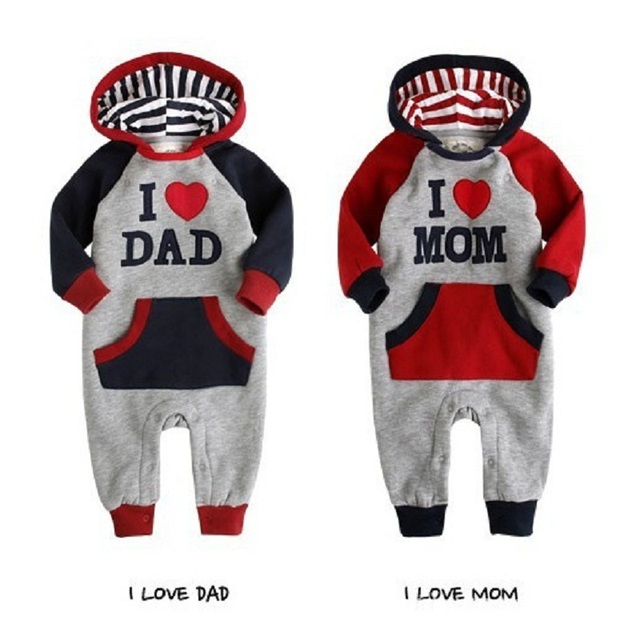 9e9d14978060 Autumn Baby Boys Long Rompers Bebe Girls Hooded Jackets Shirts I Love Dad  Mom Outfits Overall