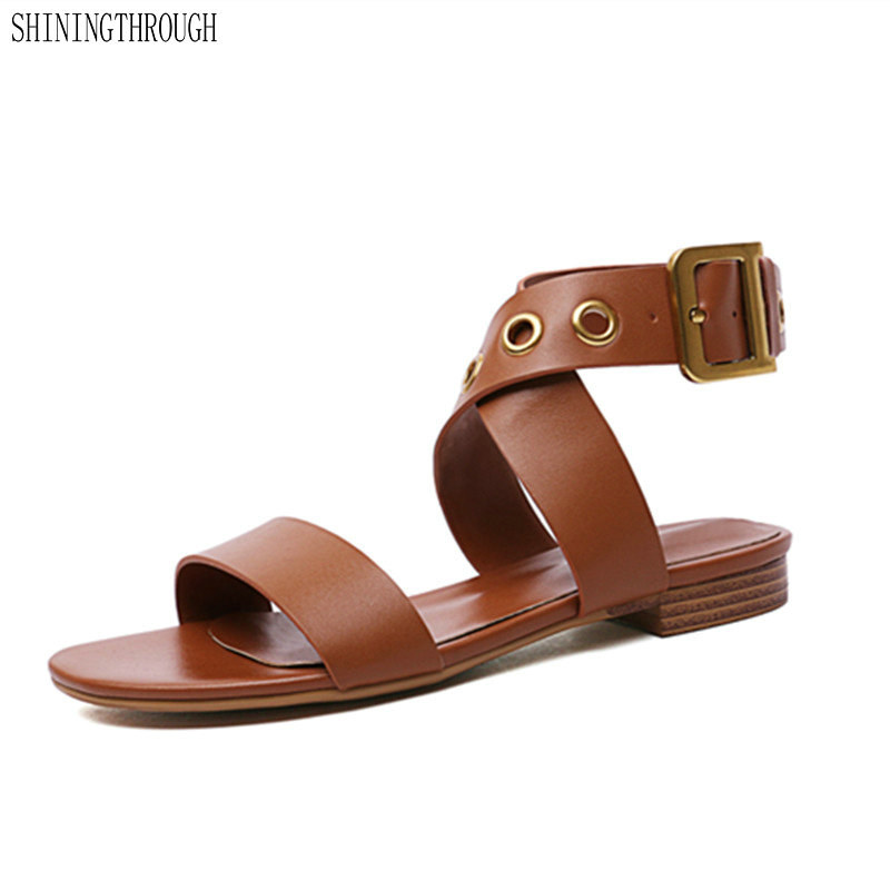 Women cow Leather low heels Shoes Woman sandals ankle strap Wedding Party Shoes Female flat Sandals