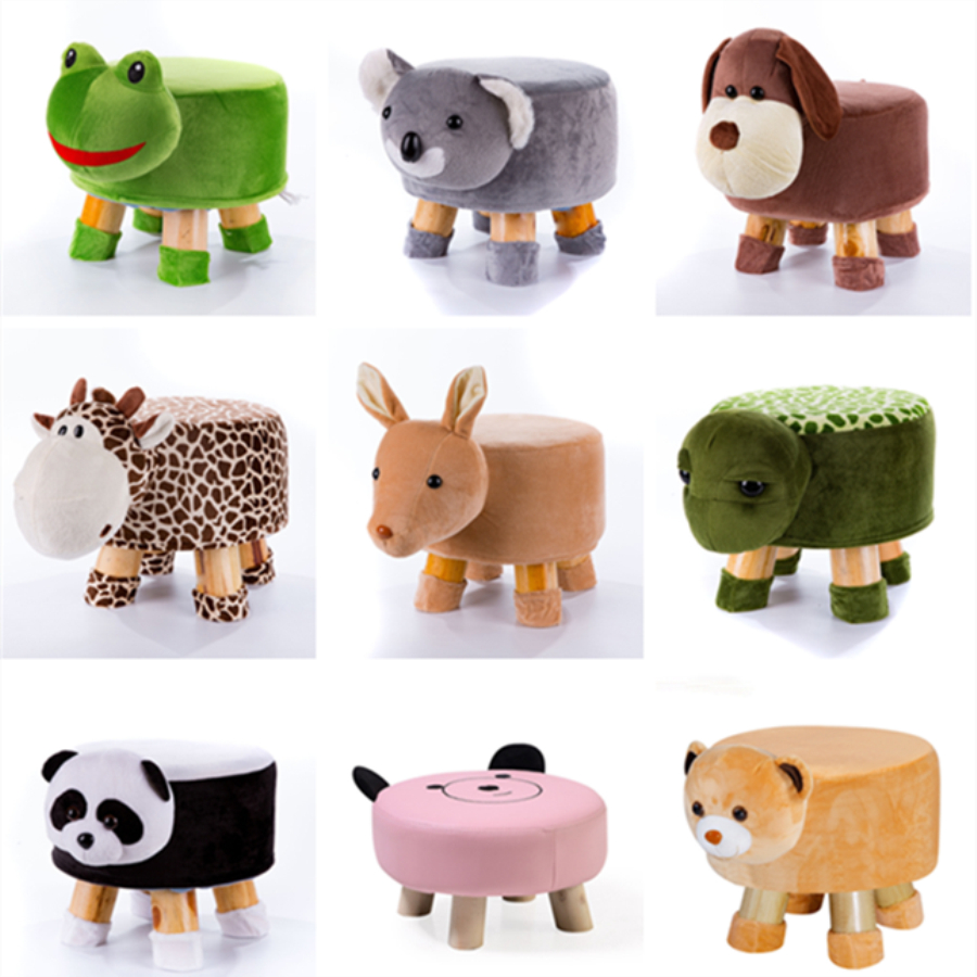 Handmade Small Cute Children Animal Chair Wood Stools Kids Shoes Sofa With Plush Cartoon Cover Upscale Baby Chairs Bench