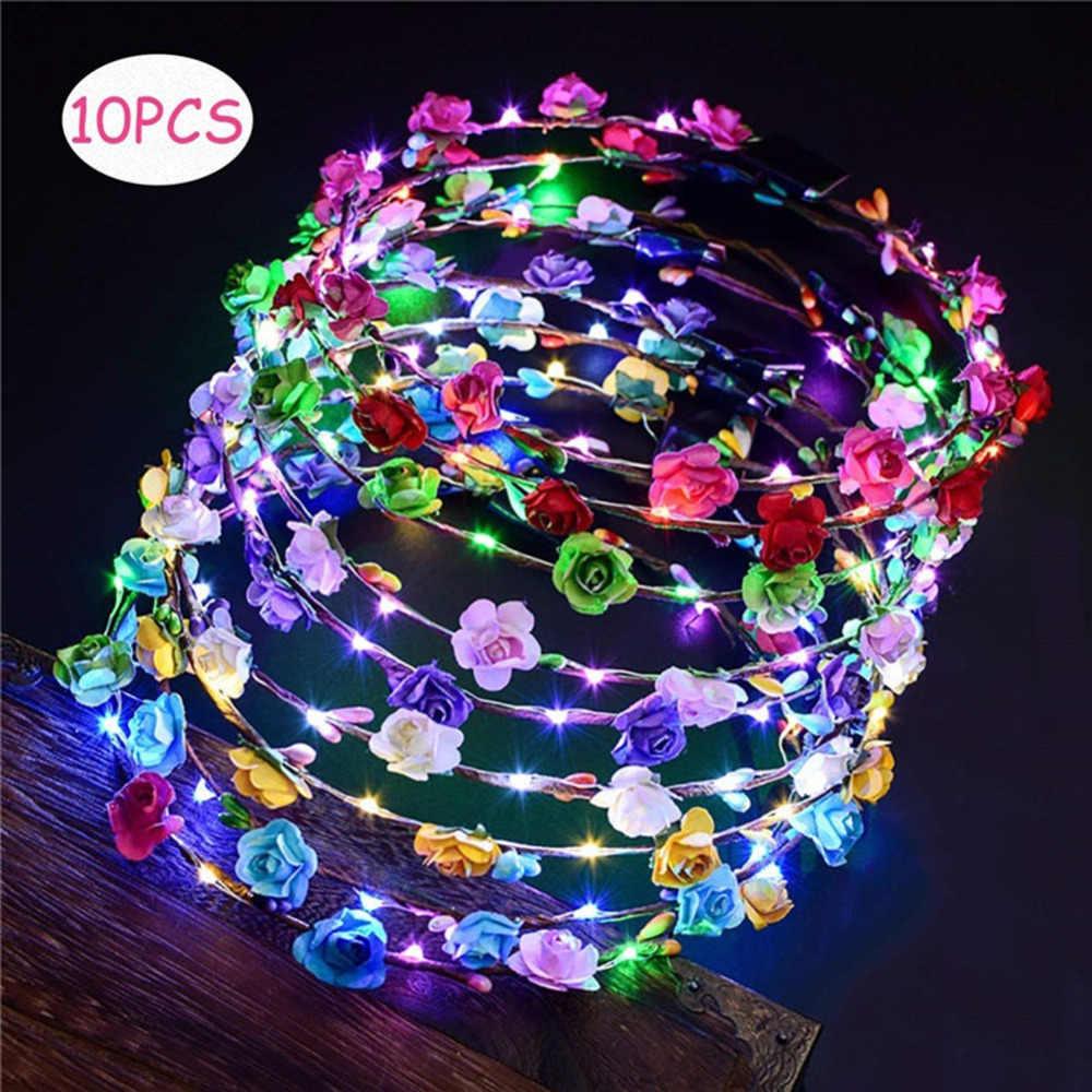 10 Pcs Luminous LED ดอกไม้มงกุฎปรับดอกไม้พวงหรีด Headband Headpiece ดอกไม้สำหรับงานแต่งงานสีสุ่ม