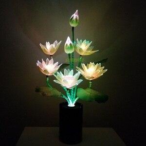 Image 2 - W nowym stylu 7 głowice kwiat Led światła lotosu światła buddy lampa Fo lampa nowość artystyczne z włókna optycznego kwiat