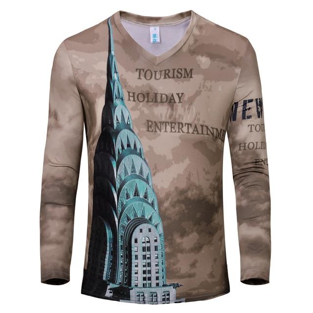 883ec91dd36 Spring Autumn T Shirt Mens T Shirts Fashion 2015 Mens Long Sleeve Tshirt  Homme V-Neck Print Natural Color Top Brand Clothing Tee