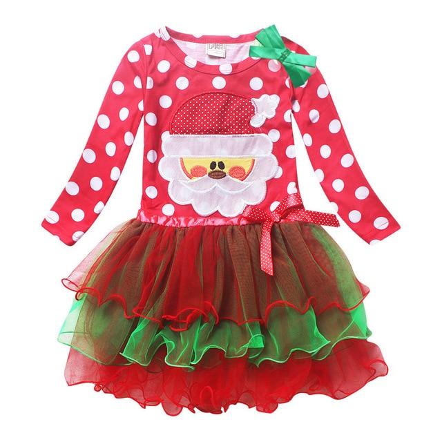 New Years Christmas Dress Santa Claus Long Sleeve Dot Lace Tutu